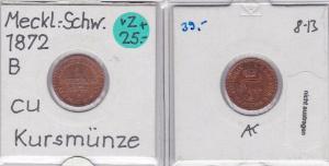 1 Pfennig Kupfer Münze Mecklenburg-Schwerin 1872 (121779)