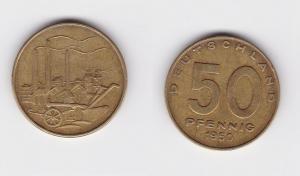 50 Pfennig Messing Münze DDR 1950 Pflug vor Industrielandschaft (124435)