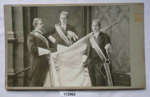 112962 Original Studentika Kabinett Foto 3 Studenten Halle an der Saale um 1910