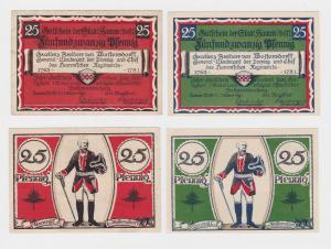 2 x 25 Pfennig Banknoten Stadt Hamm in Westfalen 1.10.1921 (119987)