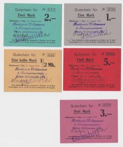 5 Banknoten Gutschein Notgeld Mühlhausen in Thüringen 21.8.1914 (122138)