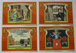 4 x 75 Pfennig Banknoten Notgeld Stadt Calcar 1922 (124637)