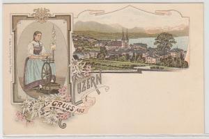 53574 Ak Lithographie Gruß aus Luzern in der Schweiz um 1900