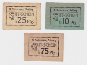 3 Banknoten Gutschein Notgeld Nabburg Firma M.Neckermann (121930)