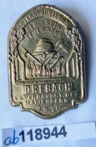 Altes Abzeichen freiwillige Feuerwehr Drehbach 1927 (118944)