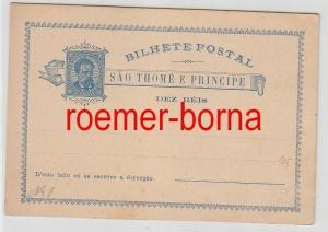 74572 seltene Ganzsachen Postkarte São Tomé und Príncipe 10 Reis vor 1900