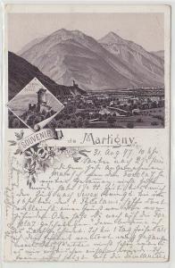 63722 Ak Lithographie Souvenir de Martigny Schweiz 1897