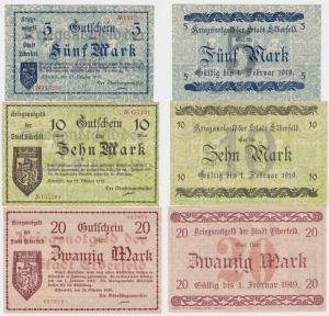 5, 10 und 20 Mark Banknoten Notgeld Stadt Elberfeld 1918 (120462)