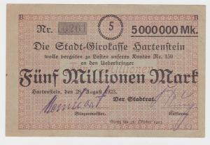 5 Millionen Mark Banknote Stadtgirokasse Hartenstein 28.8.1923  (116944)