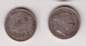 40 Centavos Silber Münze Spanien Isabella 1866 (102988)
