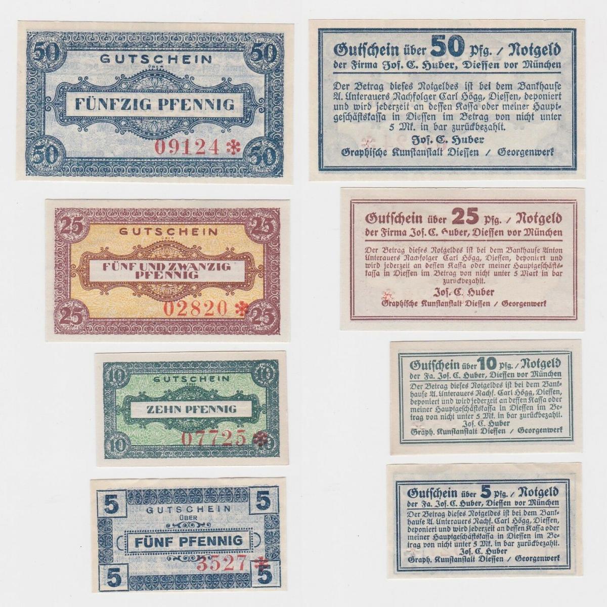 4 Banknoten Notgeld Diessen Vor München Joschuber Um 1920 124869