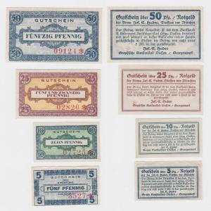 4 Banknoten Notgeld Diessen vor München Jos.C.Huber um 1920 (124869)