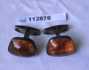 Zeitlose Manschettenknöpfe 835er Silber Bernstein Fischlandschmuck (112878)