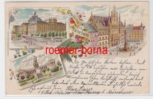 84365 Ak Lithografie Gruss aus München Justizpalast, Rathhaus usw. 1898
