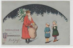 71318 Fröhliche Weihnachten Ak Weihnachtsmann mit Sack voll Geschenken 1913