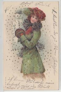 32974 Präge Ak elegante Dame und Schneemann 1906