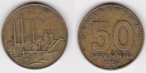 50 Pfennig Messing Münze DDR 1950 Pflug vor Industrielandschaft (122676)