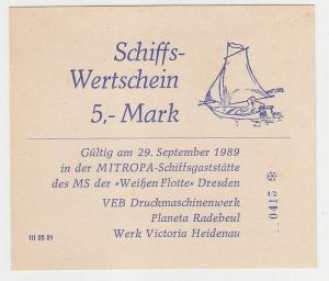 5 Mark Banknote Wertschein DDR Mitropa Schiffsgaststätte 1989 (116350)