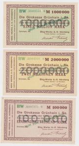 0,1, 1 & 2 Millionen Mark Banknoten Girokasse Grünhain Bing Werke 1923 (121545)