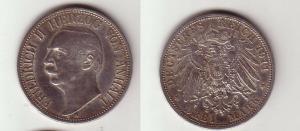 3 Mark Silber Münze Anhalt Herzog Friedrich II 1911 A (114251)