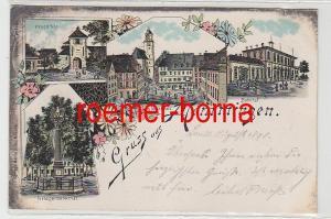 53161 Ak Lithographie Gruß aus Memmingen Bahnhof, Kriegerdenkmal usw. 1898