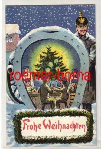 81258 patriotische Ak Frohe Weihnachten Soldaten Hufeisen Kanone 1916