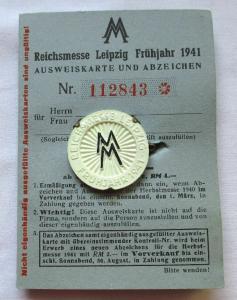 Reichsmesse Ausweis Leipziger Frühjahrsmesse 1941 + Besucherabzeichen (124885)