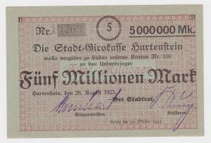 5 Millionen Mark Banknote Stadtgirokasse Hartenstein 28.8.1923  (119870)