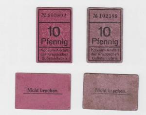 2 x 10 Pfennig Banknoten Konsum Anstalt der Kruppschen Gußstahlfabrik (117409)