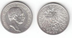 2 Mark Silber Münze Sachsen König Friedrich August 1911 E (114398)