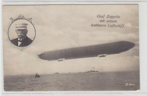 67775 Foto Ak Graf Zeppelin mit seinem lenkbaren Luftschiff 1908