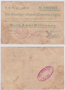 2 Millionen Mark Banknote Stadtgirokasse Oelsnitz Vgtl. 8.8.1923 (122418)