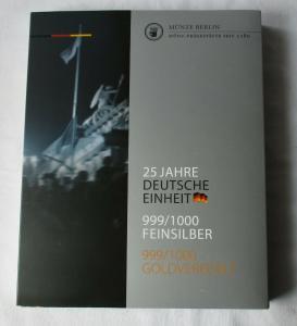 2 Sammelmappen 25 Jahre Deutsche Einheit 24 Silber Medaillen 24K Gold (134751)