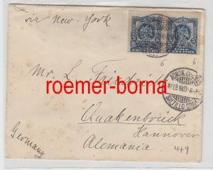 75392 seltener Brief Mexiko mit Briefmarkenpaar 2 x 5 Centavos 1903
