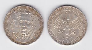 5 Mark Silber Münze Deutschland Gebrüder Humboldt 1967 F (114759)