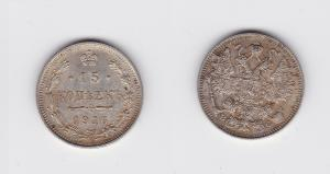 15 Kopeken Silber Münze Russland 1916 BC (118541)