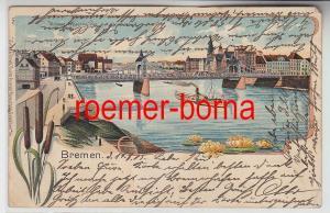 75423 Ak Lithografie Bremen Grosse Weserbrücke mit Herrlichkeit 1905