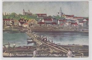 80720 AK Deutsche Pioniere beim Bau einer Notbrücke in Grodno 1918