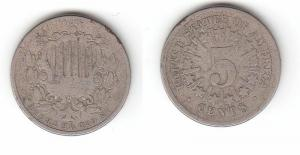5 Cent Nickel Münze USA 1866 (114909)