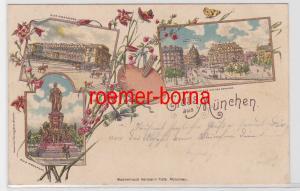 84362 Ak Lithografie Gruss aus München Pinakothek, Bahnhof usw. 1899
