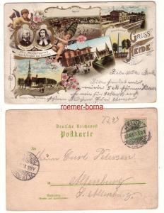 79461 Ak Lithografie Gruss aus Heide Bahnhof, Markt usw. 1903