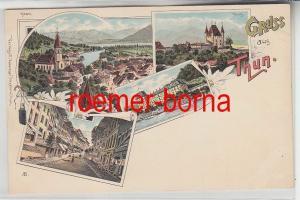 65098 Ak Lithografie Gruss aus Thun Thunerhof, Burg, Strasse, Totale um 1900