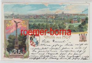 78955 Präge Ak Lithographie Gruss aus Hof Denkmal und Totalansicht um 1900