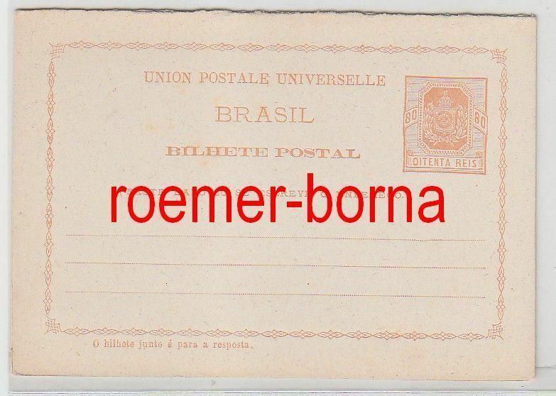 69242 seltene Ganzsachen Antwort Postkarte Brasilien 80 Reis um 1900 0