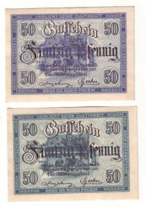 2 x 50 Pfennig Banknoten Notgeld Stadt Ochsenfurt am Main 1919 (112400)