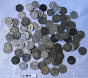 100 interessante Silber Münzen 1/2 Mark Kaiserreich (111663)
