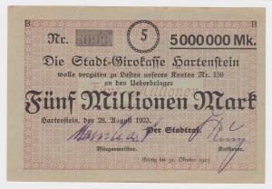 5 Millionen Mark Banknote Stadtgirokasse Hartenstein 28.8.1923  (116894)