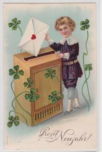 92585 Glückwunsch Präge AK Prosit Neujahr! - Engel wirft Brief ein 1906