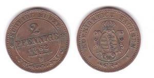 2 Pfennig Kupfer Münze Sachsen 1862 B (110225)