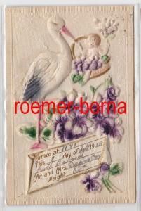 85083 geprägte Ak Geburtsanzeige mit Storch und Baby 1913